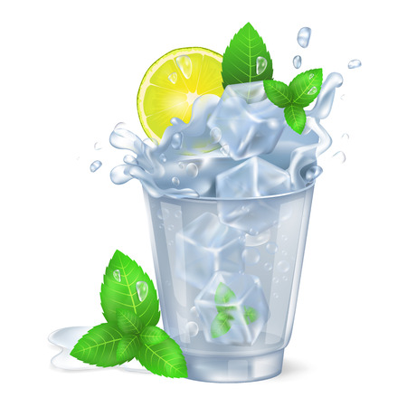 Faceted Glass of Mojito with Ice Illustration Ilustração