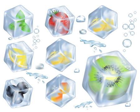 氷のイラストでフルーツ、ベリー、ハーブ