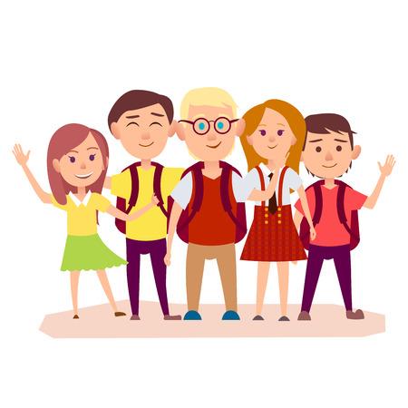 Drie schooljongens met rugzakken en drie meisjes