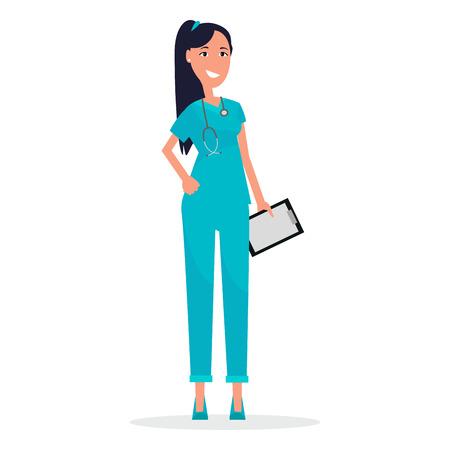 Vrouw arts met stethoscoop geïsoleerd op wit Stock Illustratie