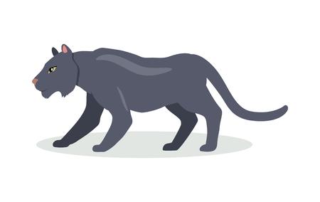 Black Jaguar Cartoon Icon in Flat Design