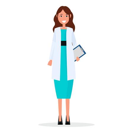 分離された処方リストに女医  イラスト・ベクター素材