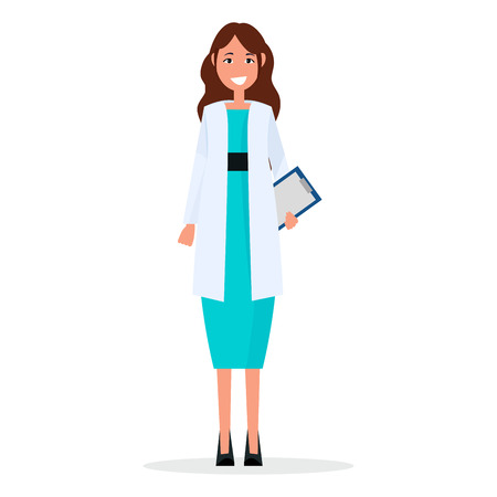Woman Doctor with Prescription List Isolated Ilustrace