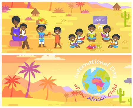 International Day of African Child Banners Set