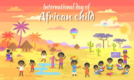 アフリカの子供の大きなバナーの国際デー