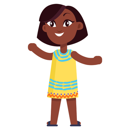Happy Little Afro-American Girl in Yellow Dress
