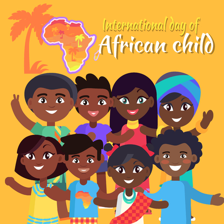 International African Child Day postcard with kids who wave hands and pose for picture, sign and map of Africa vector illustration.