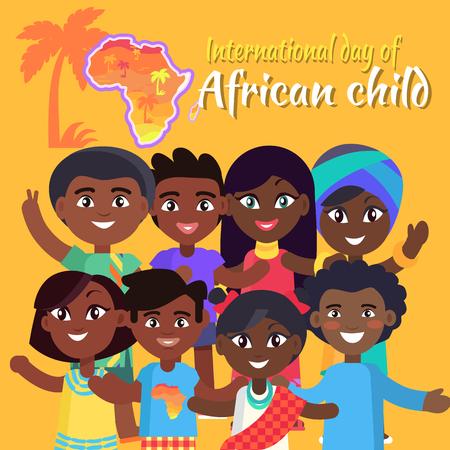 Postal africana internacional del día del niño con los niños que agitan las manos y plantean para la imagen, la muestra y el mapa del ejemplo del vector de África.