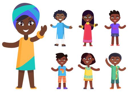 Beeldverhaal Afro-Amerikaans meisje in nationale headcover en haar vrienden geïsoleerde vector geplaatste illustraties. Mooie kinderen met zwarte huid vieren de dag van het kind