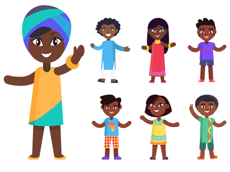 Cartoon afro-american girl in national headcover and her friends isolated vector illustrations set. Pretty kids with black skin celebrate day of child Ilustrace