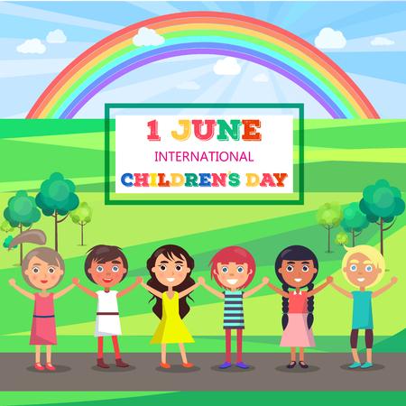 公園で子供たちと幸せな子供の日のポスター