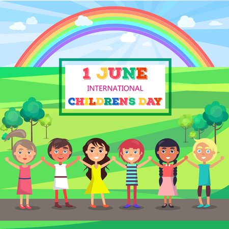 Happy Childrens Day Poster with Kids in Park Çizim