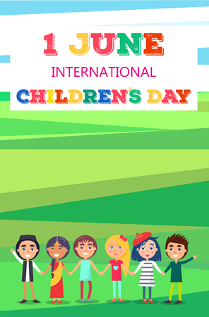 1 June Childrens Day Poster with Kids on Field