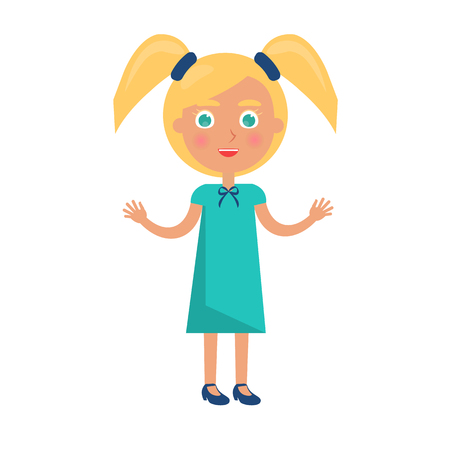 Blonde girl with two ponytails in happy childrens day concept. Vector illustration with kid, postcard to international holiday for youth