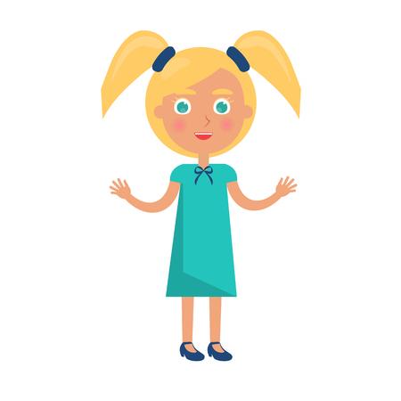 Blondemeisje met twee paardestaarten in het concept van de gelukkige kinderendag. Vectorillustratie met kind, briefkaart aan internationale vakantie voor de jeugd