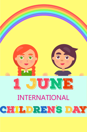 1 June International Day Poster with Two Kids