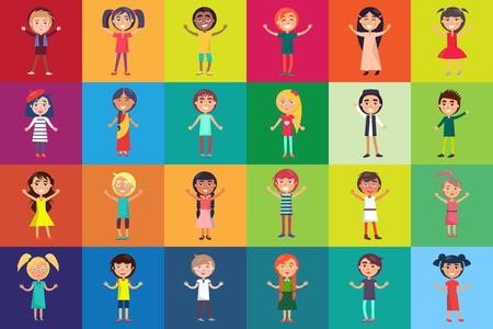 Niños multinacionales aislados en fondos coloridos. Niños celebración internacional 1 de junio ilustración vectorial de vacaciones Foto de archivo - 86749825