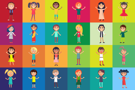 Multinational kids isolated on colorful backgrounds. Children celebration international 1 June holiday vector illustration