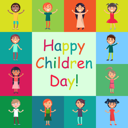 Happy Kids on Colorful Backgrounds Poster