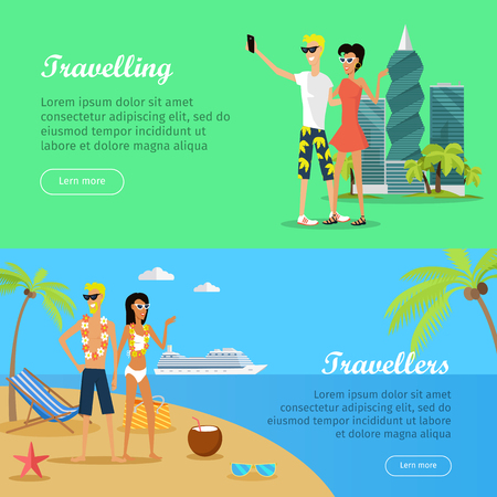 People on Vacation Conceptual Flat Vector Banners Иллюстрация