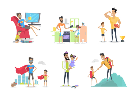 Father and Child Posters Set. Having Fun Together. Stock Photo