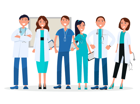 Physicians in uniform isolated on white. Medical advisers vector healthcare workers with stethoscopes, tablets and badge.