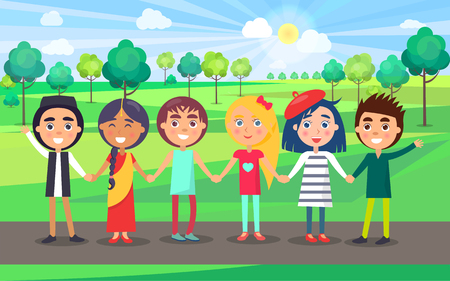Multicultural group of children standing on park path and hold each other hands. Children demonstrating counties friendship.