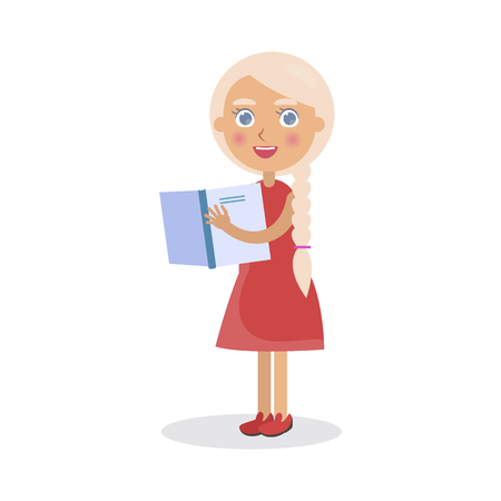 Blond Girl in Red Dress Holds Open Book Vector