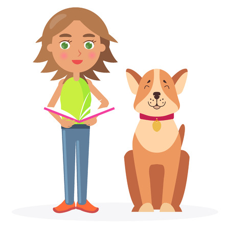 Girl with Short Hair Stands with Dog and Hold Book