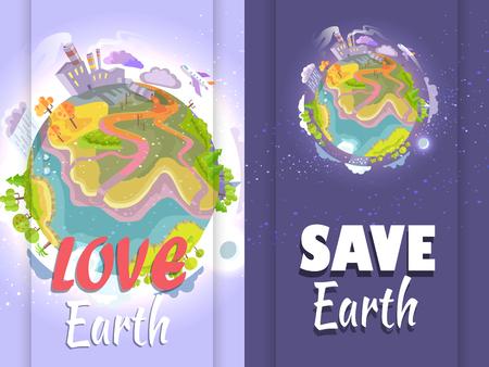 Poster Urging People to Stop Destroying the Planet Ilustração
