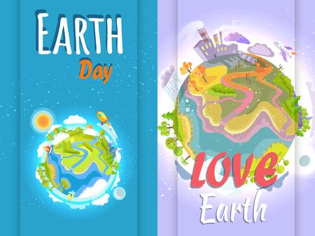 Día de la Tierra Estandarte de Planetas Limpios y Contaminados