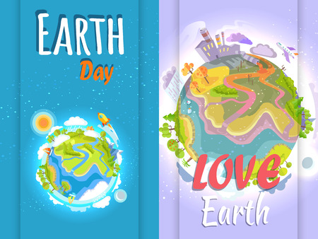 Earth Day Banner of Clean and Polluted Planets