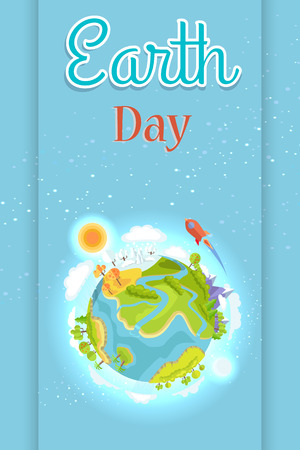 Earth Day Template Colorful Poster with Planet