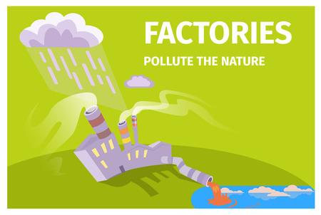 Cartel temático de las fábricas contamina la naturaleza de la ecología Foto de archivo - 86954988