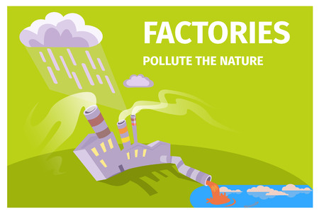Factories Pollute Nature Ecology Themed Poster