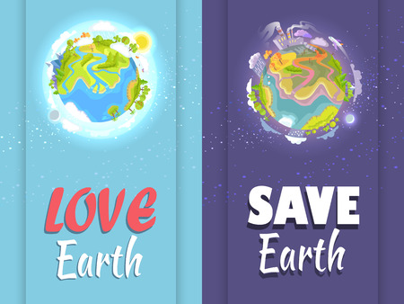 Love, Save Earth Card with Clean and Ill Planets 版權商用圖片 - 86954989