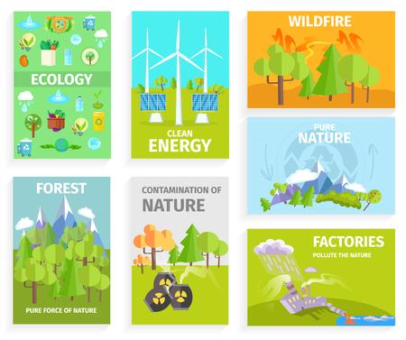 Conjunto de Banners Dipicting Environmental Issues Foto de archivo - 87011873