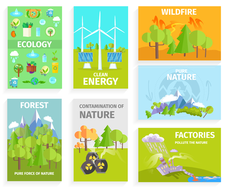 Set of Banners Dipicting Environmental Issues