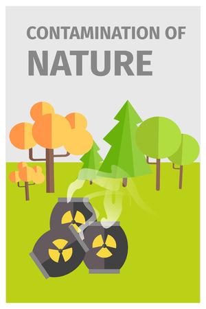 化学物質と森林の自然の汚染  イラスト・ベクター素材