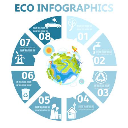 地球のイラストとエコ ・ ラウンド インフォ グラフィック  イラスト・ベクター素材