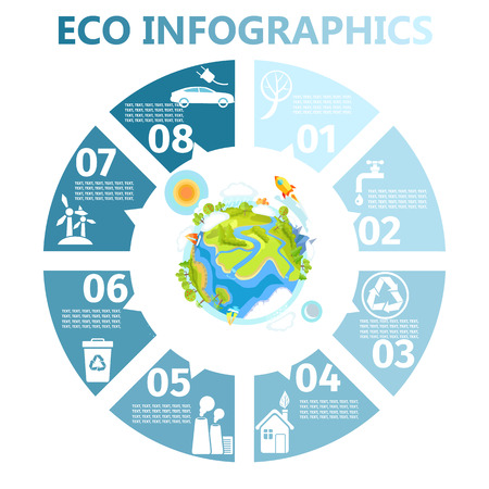 Eco Round Infographics con illustrazione della terra Archivio Fotografico - 86954997