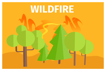 Wildfire Warning Ecology Themed Cartoon Poster