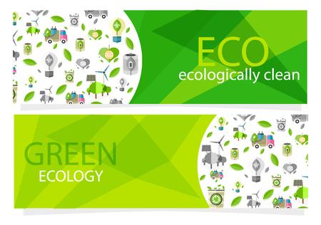 Green Ecological Equipment Set for Human Usage Иллюстрация