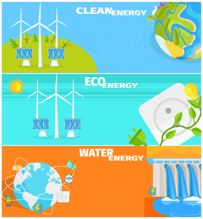 Clean Eco Water and Wind Energy Illustrations Set Illustration