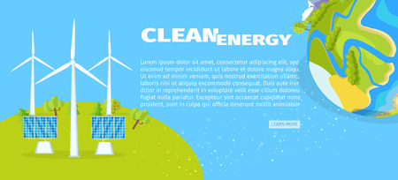 Clean Energy with Solar Panels and Planet Poster