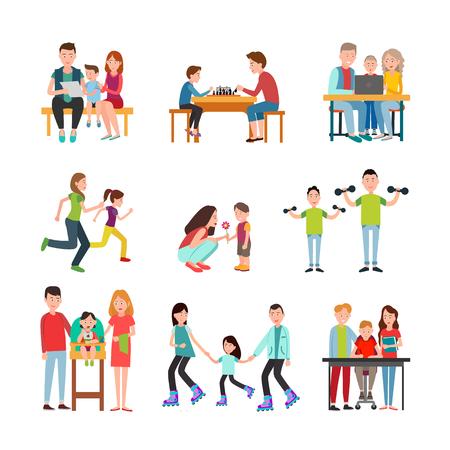 Parents Spend Time with Children Illustrations Set Stok Fotoğraf