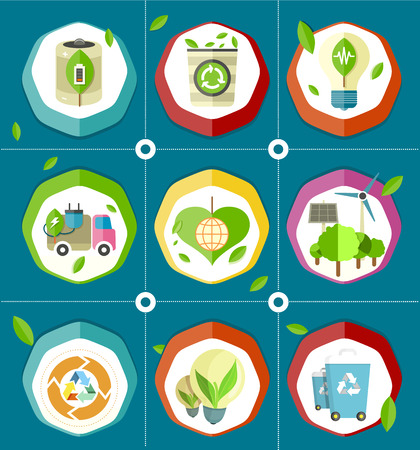 Ecologically Save Energy Devices Illustrations