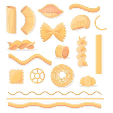 다양한 이탈리아어 붙여 넣기 격리 된 삽화 세트