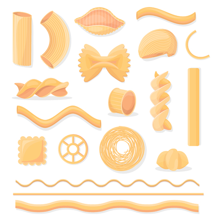 Various Italian Paste Isolated Illustrations Set