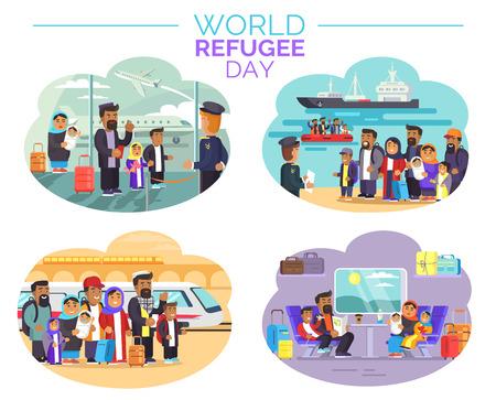 Cartel del Día Mundial de los Refugiados con personas que se alejan Foto de archivo - 86955016